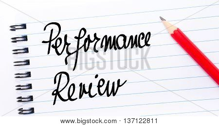 Performance Review Written On Notebook Page