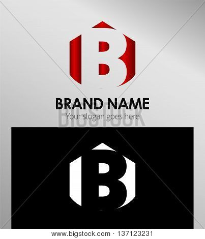 Abstract Letter b Icon template design vector