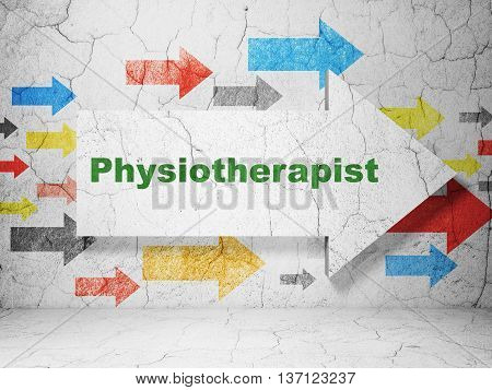 Healthcare concept:  arrow with Physiotherapist on grunge textured concrete wall background, 3D rendering