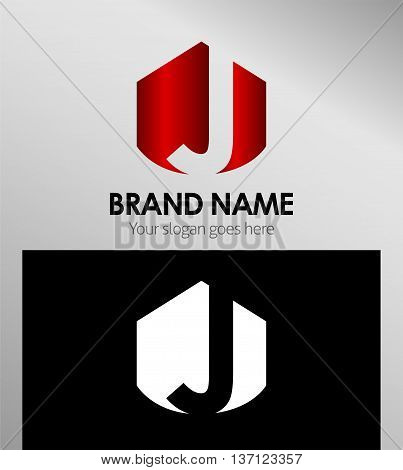 Abstract Letter j Icon template design vector