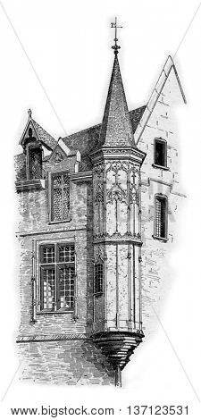Turret at the corner of Vieille-du-Temple and Franks-Burgeois Streets in Marais, Paris, France. Vintage engraving.