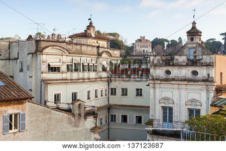 Skyline Of Old Rome, Italy. Via Del Corso