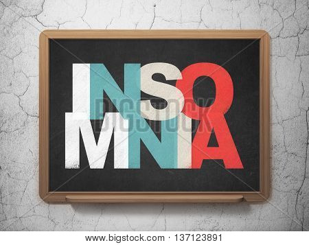 Medicine concept: Painted multicolor text Insomnia on School board background, 3D Rendering