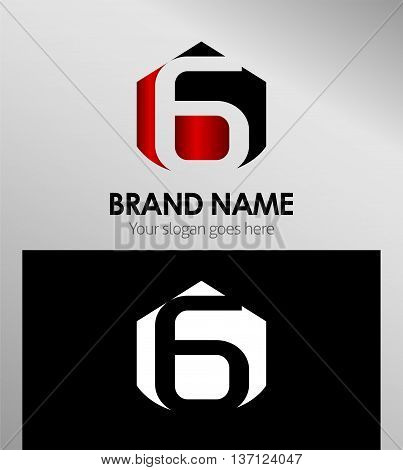 Vector sign spherical number 6 template design vector