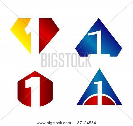 Number 1 logo. Vector logotype design set