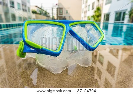 Snorkeling Mask On Dock After A Dive At Pool