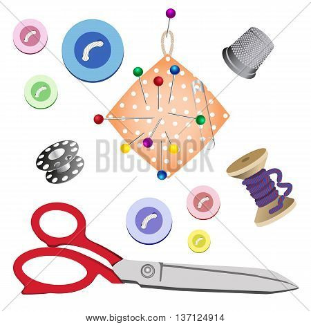 Set of subjects for sewing on white background. Vector illustration
