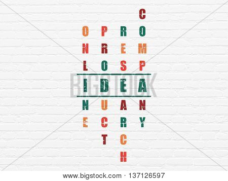 Marketing concept: Painted green word Idea in solving Crossword Puzzle