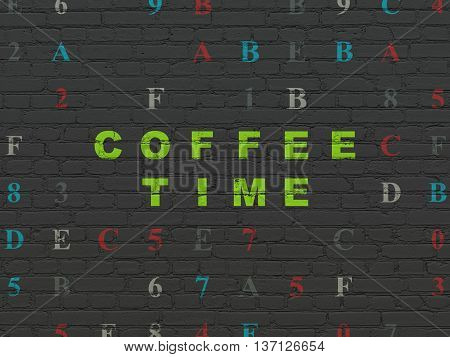 Time concept: Painted green text Coffee Time on Black Brick wall background with Hexadecimal Code