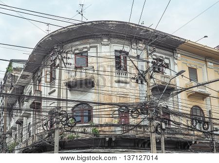The chaos of cables and wires on every street on June 2, 2016 in Bangkok, Thailand.
