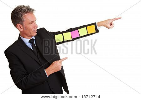 Manager With Sticky Notes On Arm