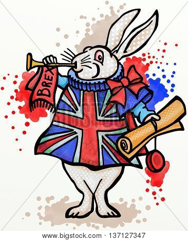 A digitally painted cartoon doodle of the rabbit from Alice in Wonderland wearing Union Jack flag livery and announcing Britains exit from the European Union.