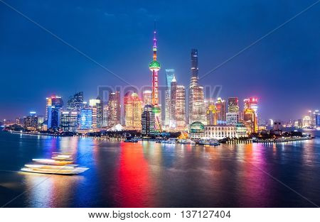 gorgeous night view of shanghai modern city skyline China