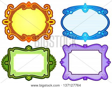 Set of ornate label style borders in different colors