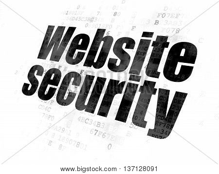 Web design concept: Pixelated black text Website Security on Digital background