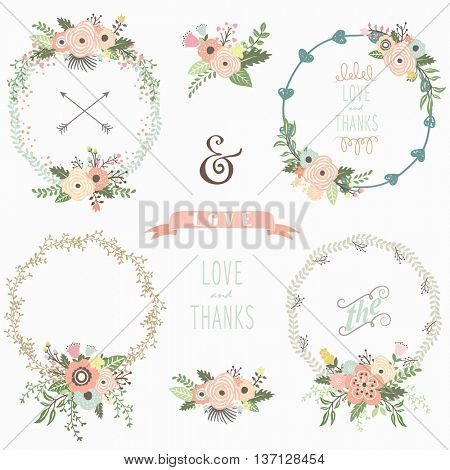 Rustic Floral Wreath Elements
