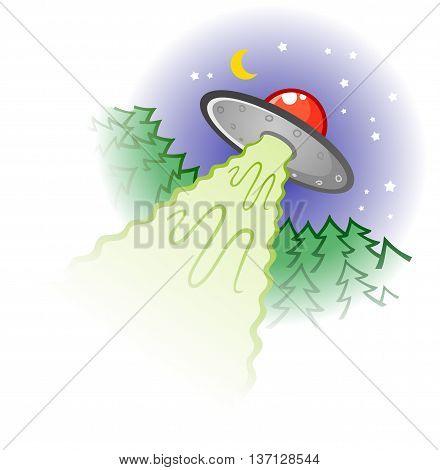 Retro Flying Saucer Alien Spaceship Cartoon Illustration