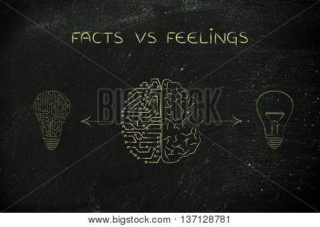 Human & Circuit Brain Having Different Of Ideas, Facts Vs Feelings