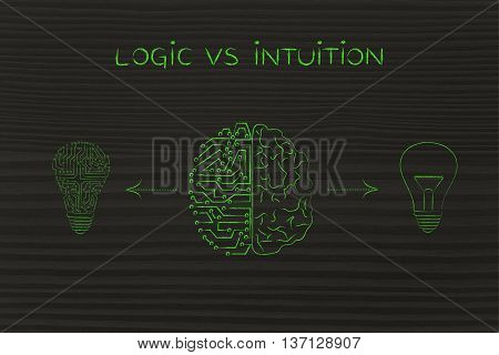 Human & Circuit Brain Having Different Ideas, Logic Vs Intuition