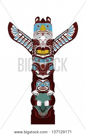 Indian totem pole - stylized monumental sculpture with figures of animals, vector illustration in cartoon style