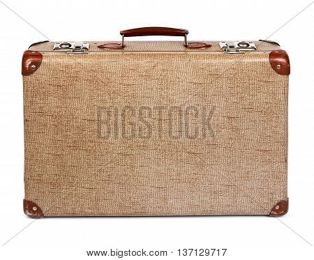 Old vintage suitcase front isolated on white