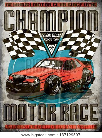 Car race poster fashion design style vector