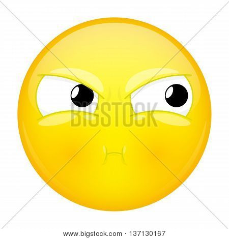 Sulk emoji. Bad emotion. Pout emoticon. Vector illustration icon.