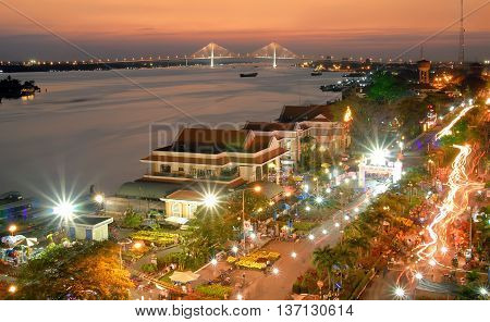 Quang Ninh, Vietnam, March 15, 2016 night landscape, Ha Long city, Quang Ninh province, Vietnam. Here, there is a large cable-stayed bridge, Bai Chay
