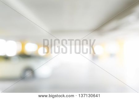 Blurred Cars Parking With Bokeh Light Background