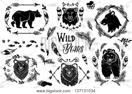 Collection of rustic decorative bears with floral design elements tribal feathers and arrows. Vector illustration.