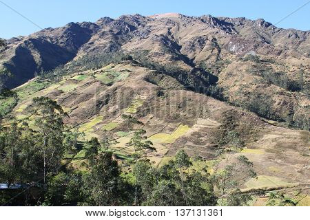 Mountain in Northern Peru with trees bare rock and cultivated agricultural fields