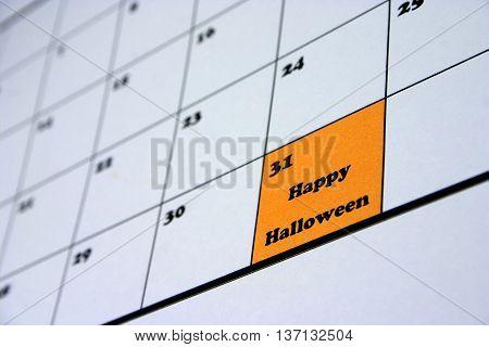 Happy Halloween Calendar