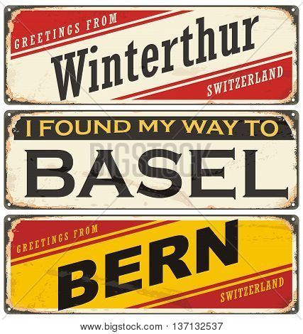 Switzerland cities and travel destinations. Retro metal plates set on old damaged background.