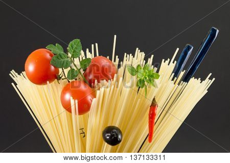 Raw Spaghetti In Spiral Shape Ready For Cooking