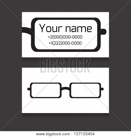 Template two-sided business card with eyes glasses for eye doctors merchants opticians workers