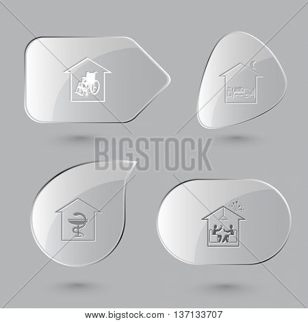 4 images: nursing home, bedroom, pharmacy, celebration. Home set. Glass buttons on gray background. Vector icons.