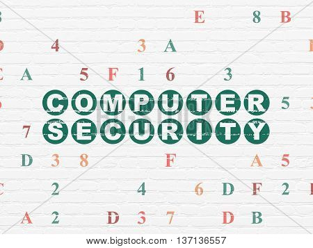 Privacy concept: Painted green text Computer Security on White Brick wall background with Hexadecimal Code