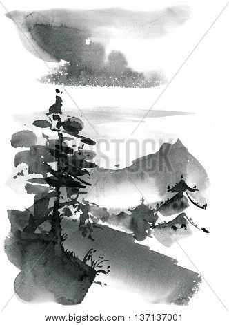 Watercolor and ink chinese landscape - sky pine trees pagoda. Sumi-e u-sin gohua painting.
