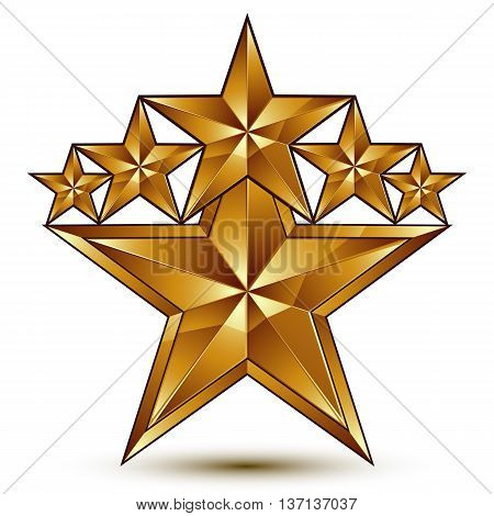 Geometric vector classic golden element isolated on white backdrop 3d decorative stars shaped blazon.