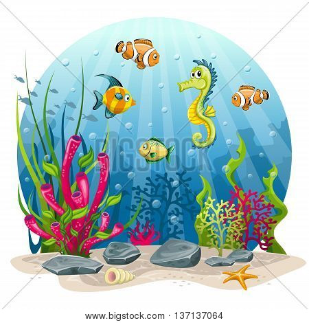 underwater landscape with seahorse and fish in the sea
