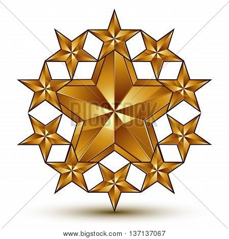 3d vector classic royal symbol sophisticated golden round emblem with pantagonal stars isolated on white background glossy aurum element.