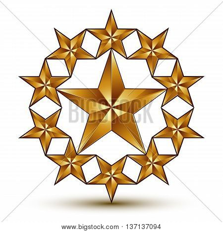 Geometric vector classic rounded golden element isolated on white backdrop 3d decorative pentagonal stars shaped blazon.