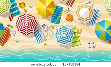 Seamless beach resort with colorful beach umbrellas part 3 of 3