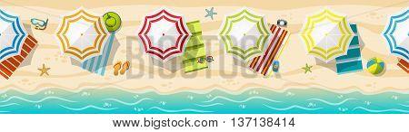Seamless beach resort panorama with colorful beach umbrellas
