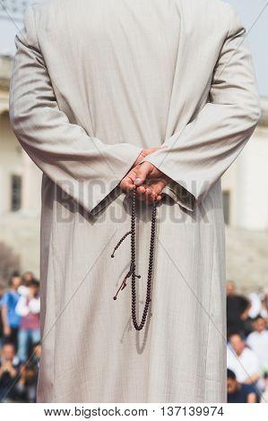 Detail Of Muslim Prayer Beads During Eid In Milan, Italy