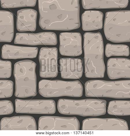 Seamless cartoon stone bricks texture. Vector illustration.