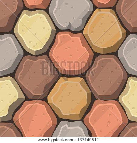 Seamless cartoon stone road or wall texture. Vector illustration.