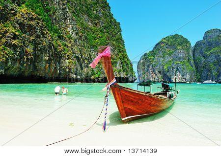 Long-tail Boats At Maya Bay Of Phi-phi Island
