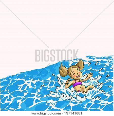 Summer fun aqua park. Happy cheerful little girl is jumping into the water or waterpool with watersprays. Vector Illustration.
