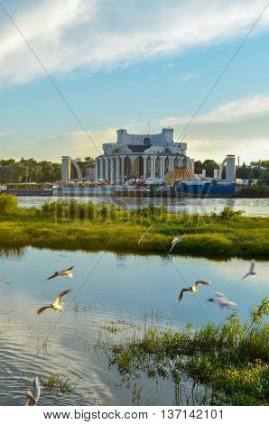 Novgorod Regional Drama Theatre At The Bank Of The Volkhov River In Veliky Novgorod, Russia